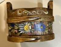 "Wonderful Hand Crafted And Painted Wooden  Planter Container 6-1:4"" By 3-1/4"""