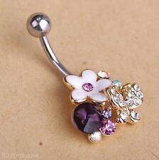 Popular Flowers Butterfly Belly Button Ring Navel Bar Body Piercing Jewelry Gift