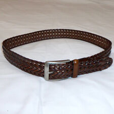 """MENS NIKE LEATHER BELT BROWN BRAIDED 1.375"""" SILVER BUCKLE EUC SIZE 32"""