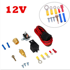 New Electric Fan Wiring Install Kit Set Complete Thermostat 60 Amp Relay 185°