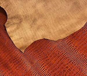 Rust Brown Crocodile Leather Cow Hide Cowhide Accessory Bag Craft Avg 15 SqFt