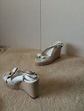 Women KATE SPADE white leather wedge ankle strap sandals sz. 7.5