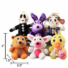 Five Nights At Freddy's Style 6 Piece Stuffed Keychain Set,with Silver Necklaces