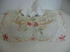 Tissue Box Cover Sheer Embroidered Top Frilly and Feminine
