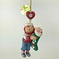 Danbury Mint Raggedy Ann and Andy Glitter Ornament Stocking Stuffer Christmas
