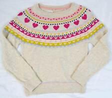 M&S Marks & Spencer soft girls jumper beige / oatmeal heart nordic age 5-14  NEW