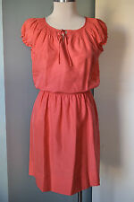Talbots Peach S M P Silk Blouson Dress Career Cocktail EUC