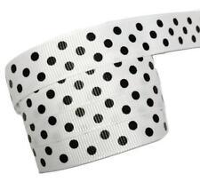 "5 yards White w/ black polka dot print 5/8"" grosgrain ribbon by the yard DIY"