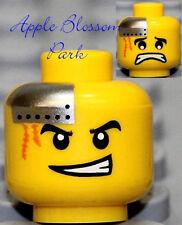 NEW Lego Cyborg MINIFIG HEAD Robot Metal Plate & Scar w/Grin - City Power Miner