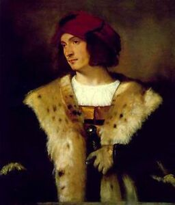 Dream-art Oil painting titian-portrait-of-a-man-in-a-red-cap canvas handpainted