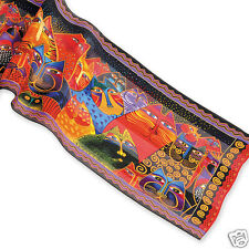 Laurel Burch 100% Silk Oblong Scarf Fantastic Cats Felines Brights Red Ambe New