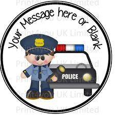 Carino Cartoon Polizia Poliziotto AUTO COMPLEANNO PERSONALIZZATA ROUND CAKE TOPPER glassa