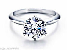 3.00Ct Round Cut Engagement Ring 14K Solid Gold