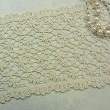 1yd Antique Style Embroidery Cotton Crochet Lace Trim Double Edged 14cm Wide