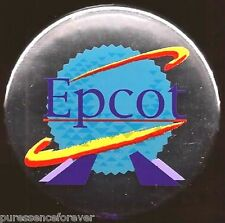 Disney Button Badge: WDW Epcot - Spaceship Earth on Silver Background