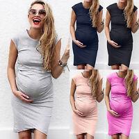 Women Mom Maternity Pregnancy Summer Casual Long Shirt Vest Sleeveless Dress