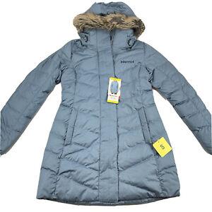 Marmot Womens Varma Jacket Long Down Faux Fur Hood Size S Small Storm Cloud NWT