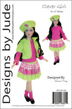"""Clever Girl Doll Clothes Sewing Pattern for 12"""" Marley Wentworth Dolls Tonner"""