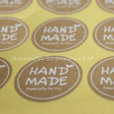 "Round White"" Hand Made"" Stickers 180PCS Cake Baking Sealing Sticker 35mm*35mm"