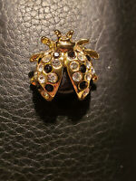 Vintage Lady Bug Insect Brooch Pin Rhinestones Gold Tone