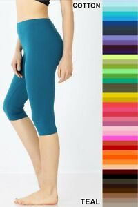 Zenana Capri Leggings Knee Pants Premium Cotton Spandex Basic S/M/L/XL/1X/2X/3X
