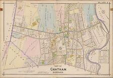 1910 MORRIS COUNTY TOWNSHIP NEW JERSEY, CHATHAM PARK STATION & BRIDGE ATLAS MAP