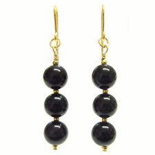 9ct Gold Drop Earrings with Genuine Semi-precious Black Onyx Gemstone Beads.
