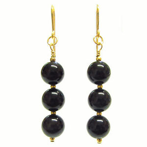 Black Onyx 9ct Gold Earrings with Gold Hooks and Drops, 8mm Round Gemstone Beads