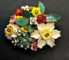 RARE Vintage Miriam Haskell Flower Brooch Pin Celluloid Enamel Glass...Signed
