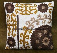 Indiano Cotone Floreale Suzani Ricamato Cover Cuscino Decorativo Divano Coperta