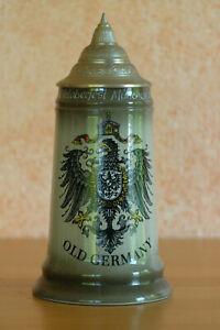 Bierkrug 0,5l handbemalt Zinndeckel Oktoberfest 1988 Old Germany King Handarbeit