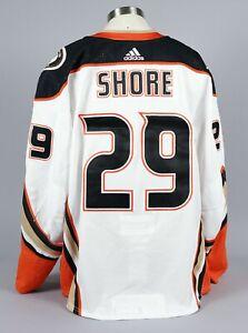 2019-20 Devin Shore  Anaheim Ducks Game Worn Away White Jersey Set 1