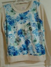 GIRLS JUSTICE SWEATER SIZE 16 Back To SCHOOL Beige with sequence flower pattern