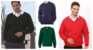 MENS PERFORMA V NECK PREMIUM QUALITY SWEATSHIRT SWEATER JUMPER 6 COLOURS
