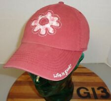YOUTH GIRLS LIFE IS GOOD DARK RED FLOWER THEME HAT STRAPBACK ADJUSTABLE VGC G13