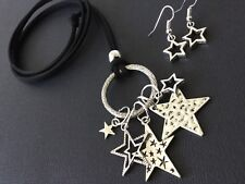 Bijoux long suede statement necklace with lucky Stars and free earrings boho
