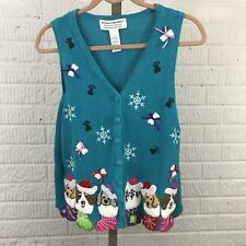Heirloom Collectibles Ugly Tacky Christmas Sweater Vest L blue dog stocking