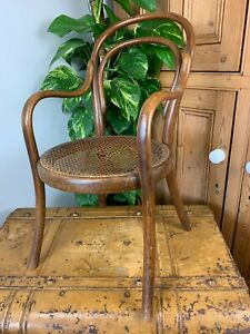 VINTAGE MID CENTURY RARE GENUINE THONET BENTWOOD CHILD'S CHAIR ARMS CANE SEAT