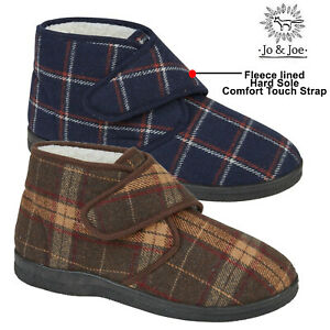 Mens Bootie Slippers Warm Fleece Lining Touch Strap Winter Cosy Boots Shoes Size