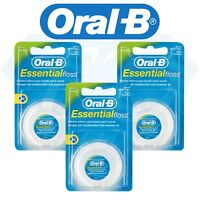 Oral B Dental Essential Floss Mint Flavour Waxed 50 Metres (Mint - Pack of 3)