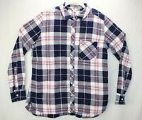 Woolrich Womens Size Large Gray Shirt Flannel Button Up Long Sleeve Plaid EUC