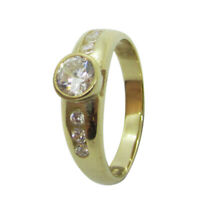 9ct Yellow Gold White 4.5mm Round CZ Fancy Semi Set Engagement Ring Size P
