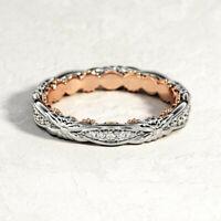 Elegant Two Tone 925 Silver Rings Women White Sapphire Wedding Ring Size 6-10