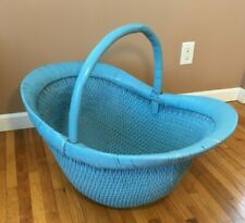 **VINTAGE WICKER BABY BASSINET Bed Cradle Basket Portable Woven Mid-Century