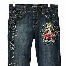 Ed Hardy by Christian Audigier Jeans Tattoo Embellished Tag 30 Measure 33 X 33.5
