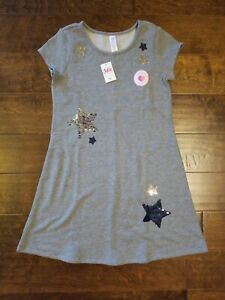 Justice Girl Reversible Sequin Star Dress size 12 L Fall Winter NWT