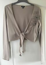"""Mexx"" Shrug, Size XL (14-16) Long Sleeves, Brown with flower detail, tie front"