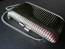 VTG SILVER METAL MINAUDIERE eve bag w/ chain shoulder strap Art Deco-inspired