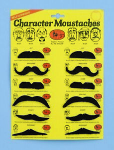 12 Black Moustaches Men's Adult Costume Variety Pack
