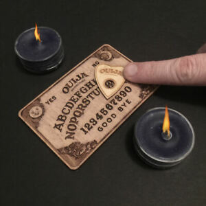 MINI OUIJA BOARD - Wood Burned MAPLE Black Cherry & Planchette - 4 x 2.5 Inch
